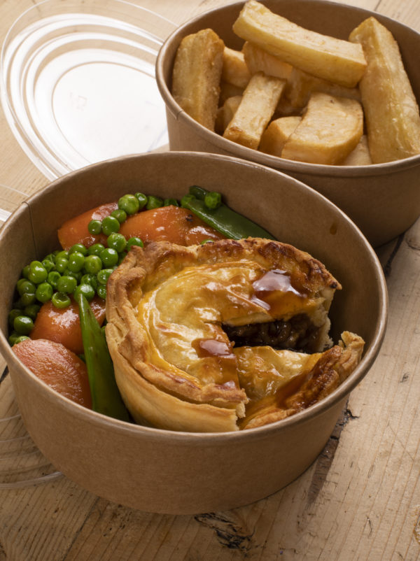Steak Pie in a Takeaway container. Chips in a seperate container